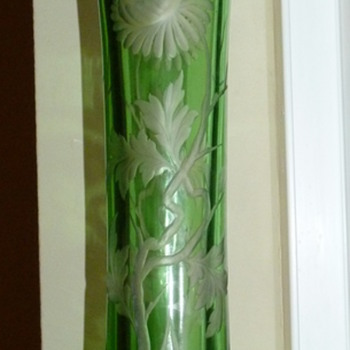 Stevens And Williams intaglio cut mums vase