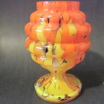 Interesting Czech Orange Spatter Jar, probably Kralik. Unmarked.