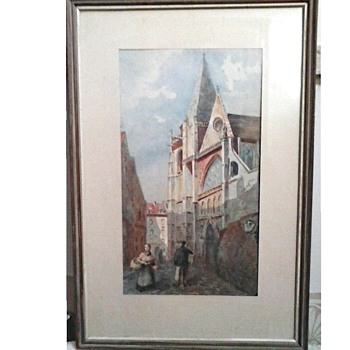 "German Cathedral Watercolor 11""x 17"" Matted and Framed / Unknown Artist / Circa 20th Century - Visual Art"