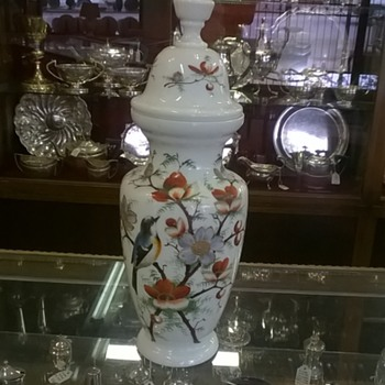 bohemian hand painted vase - Art Pottery