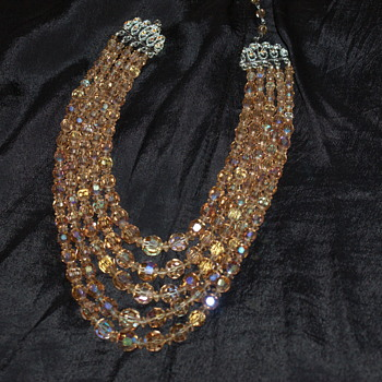 Coro Vintage AB Crystal Necklace - Five Strands - Costume Jewelry