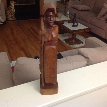 wooden statue unknown origin with huge     fallic symbol