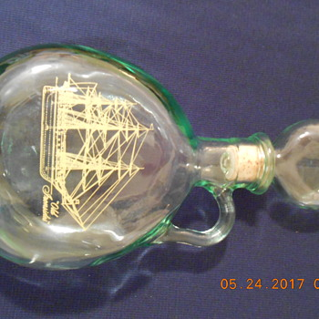 Green glass Decanter dated 1971  LIQUOR BOTTLE w/embossed ship - Bottles