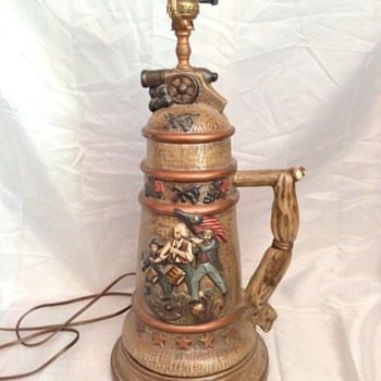 Revelutionary War Beer Stein Lamp,