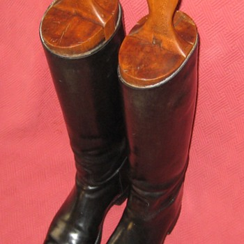 Vintage Equestrian Riding Boots With Wooden Boot Lasts