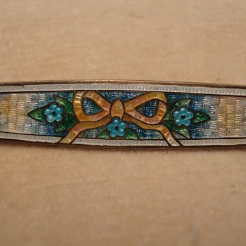 Guilloche Enamel Silver Bar Pin