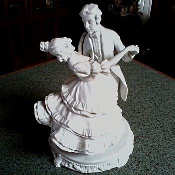 Waltzing Couple Figurine/ German White Bisque Porcelain/Circa 20th Century