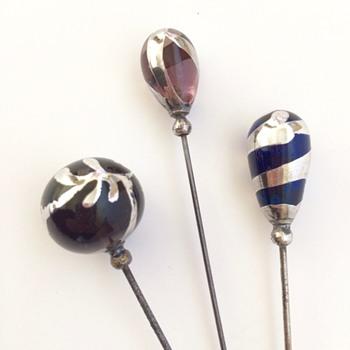 Silver deposit hatpins - Art Nouveau