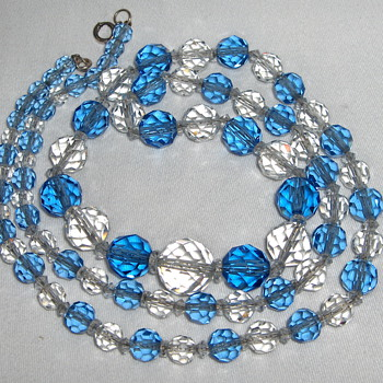 Heavy Long Faceted Crystal Bead Necklace on Chain Bohemian?