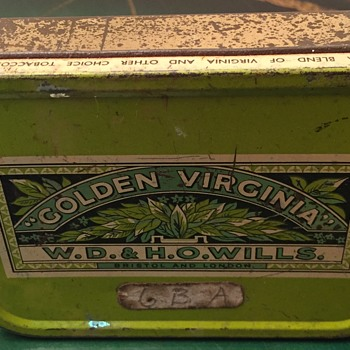 Golden Virgina metal tin.