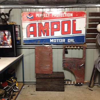 my newly aquired ampol sign  - Signs