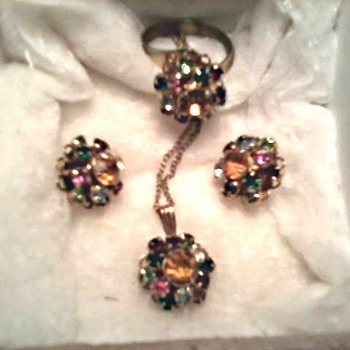 "Judy Lee ""Rainbow"" Rhinestone Cocktail Set / Ring. Pendant, and Ear Rings/ Circa 1950's"