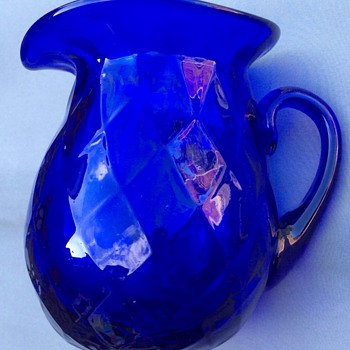 Blue glass creamer