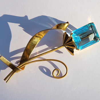 "Coro sterling vermeil brooch with blue ""gem"" - Costume Jewelry"