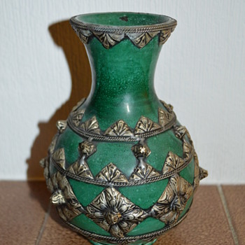 Green ceramic vase with metal decoration - Art Pottery