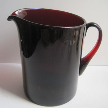 Unidentified Hand Blown Ruby Glass Tankard Pitcher