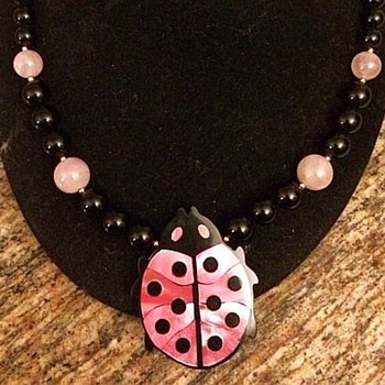 Lee Sands Lady Bug Necklace 1990 - Costume Jewelry