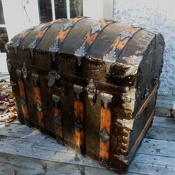 Dome Top Alligator Tin Antique Trunk - Furniture