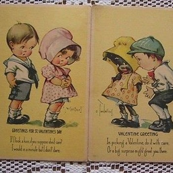 VINTAGE VALENTINES, SET OF TWO SUNBONNETTS,ETHNIC ART BY TWELVETREES. ONE BLACK. Pre 1915