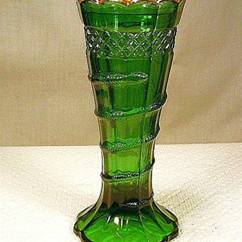 Green With Gold Trim Snake Vase - Glassware