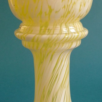 Bohemian Yellow and White Glass Vase c.1930s