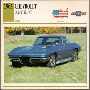 Vintage Car Card - 1965 Chevrolet Corvette