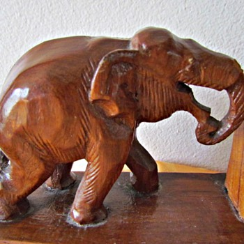 Hand Carved Asian Elephant Bookends - Animals