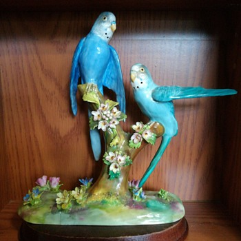 Crown Staffordshire J.T. Jones Parakeet Budgie figurine