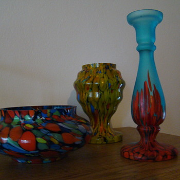 Bohemian spatter glass set - Art Glass