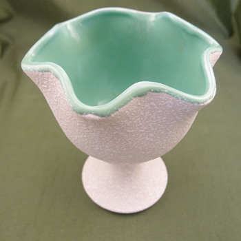 Mottled beige vase/planter with green interior