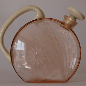 German Pink and Ivory Decanter