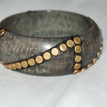 Studded Vintage Plastic Bangle - Costume Jewelry
