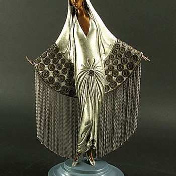 "Erte Bronze Sculpture:  ""Beloved"" - Art Deco"