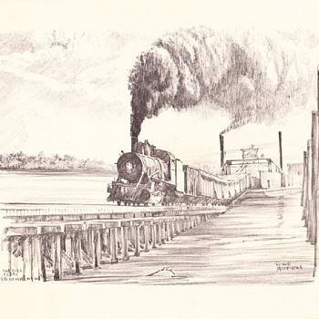 Railroad Ferry Pencil Drawing - Railroadiana