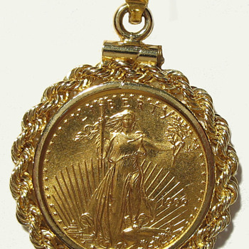 St. Gaudens 1/10th oz Gold Coin, Bezel, & Chain