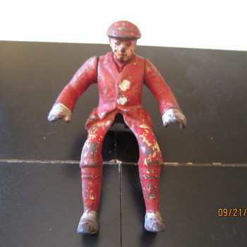 1920's Hubley Motorcycle Rider Pressed Steel Cast Iron Man