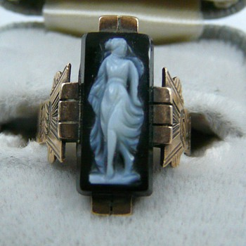 10k Rose Gold Black Agate Cameo Art Deco Paid $8