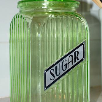 Vaseline Green Sugar Canister - Glassware