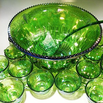 Carnival Glass -- Indiana Green Carnival Glass Princess Punch Bowl Set - Glassware