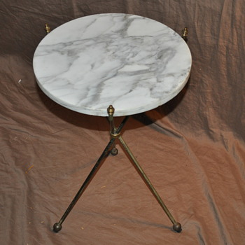 Marble top, folding brass tripod table