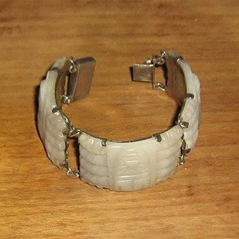 1940's bracelet: white onyx & sterling made in Mexico - Fine Jewelry