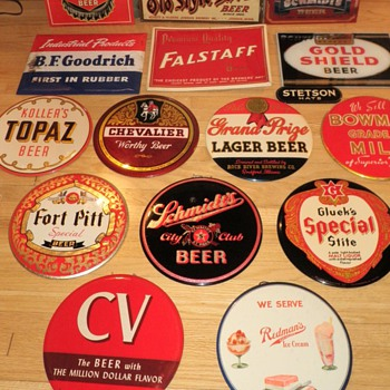 9 inch celluloid button signs (beer,ice cream,etc)