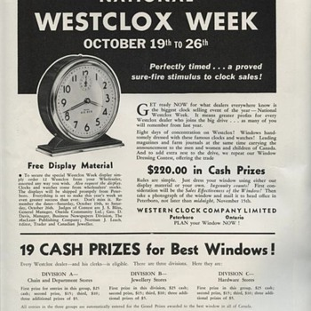 Westclox Week Advertisement from October 1935 - Clocks