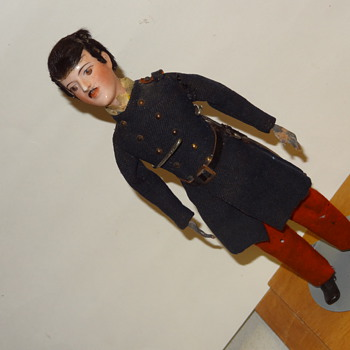 Civil war Soldier doll with metal hands-sword-flack coat-Who is He?? - Dolls