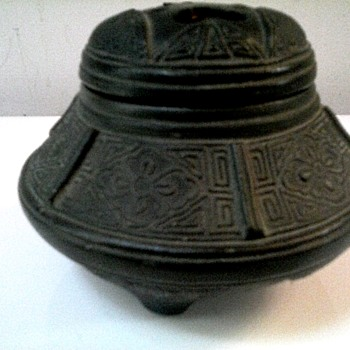 "Nippon Black Pottery Incense Burner/3.5"" Dia. Pierced Lid With Incised Decoration/ Circa 1890-1900"