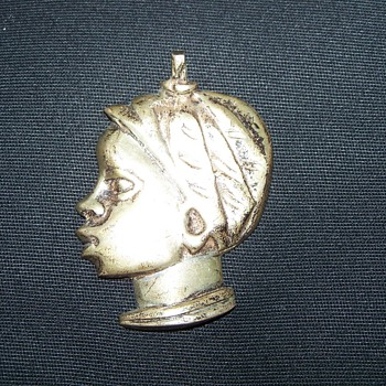 World War II Casablanca Souvenir Silver Woman Head Pendant