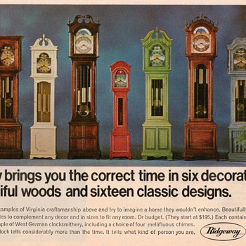 1968 - Ridgeway Clocks Advertisement - Advertising