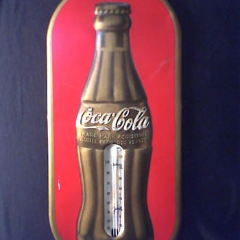 1937 Gold Bottle Coke Thermometer
