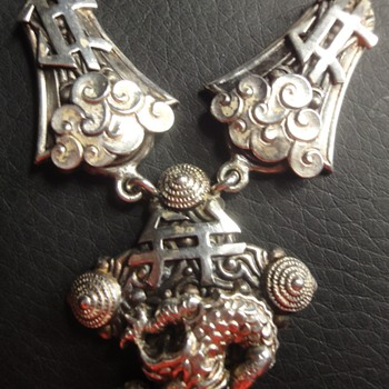 Amazing Antique Vintage Chinese Silver Dragon Pendant Necklace - Fine Jewelry