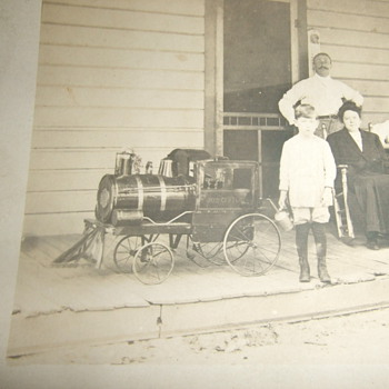 "RPPC of locomotive pedal ""car"" - Toys"